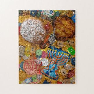 Gelt, Dreidels, Menorah, Sufganiot, & Latke Jigsaw Puzzle