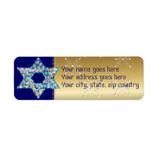 Gem decorated Star of David Return Address Label