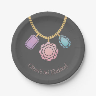 Gem Jewellery Making Girls Birthday Party Supplies Paper Plate