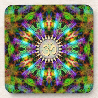 Gem Mandala Golden Aum Spiritual Art : Set of Six Coaster