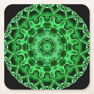 Gem Star Mandala Square Paper Coaster