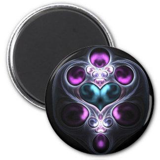 Gem Stone Heart Fractal Round Magnet