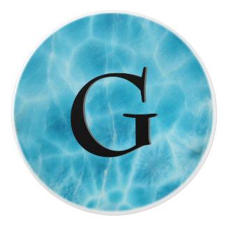 Gem Stone Pattern, Blue Larimar & Black Onyx Ceramic Knob