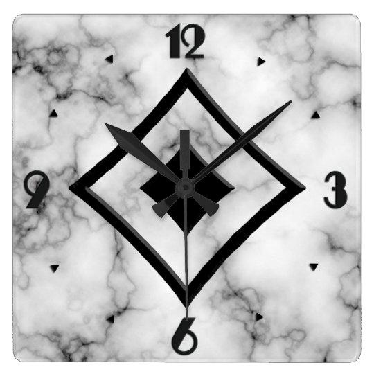 Gem Stone Pattern, Grey / Grey Marble & Black Onyx Clocks