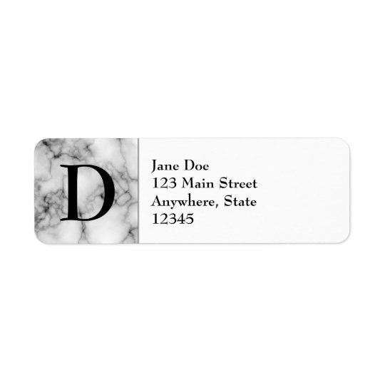 Gem Stone Pattern, Grey / Grey Marble & Monogram Return Address Label