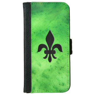 Gem Stone Pattern, Lime Green Jade & Black Onyx iPhone 6 Wallet Case