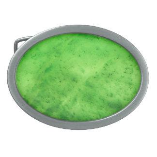 Gem Stone Pattern, Lime Green Jade Oval Belt Buckle