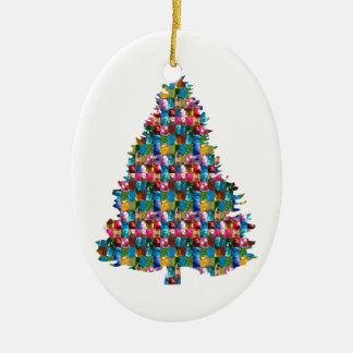 GEM studded XMAS Tree :  Merry Christmas Ceramic Ornament