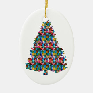 GEM studded XMAS Tree :  Merry Christmas Ceramic Oval Ornament