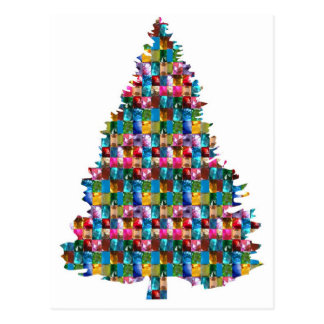 GEM studded XMAS Tree :  Merry Christmas Postcard