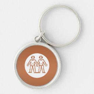 GEMINI Astrology Zodiac Symbol Silver-Colored Round Keychain