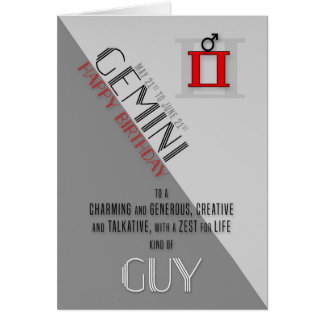 Gemini Birthday for Him May 21st to June 21st Card
