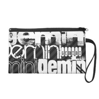 Gemini; Black & Dark Gray Stripes Wristlet