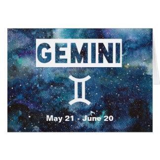 Gemini Blue Watercolor Galaxy Birthday Card