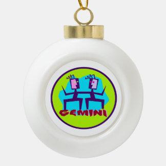 Gemini Cartoon Zodiac Astrology design Ceramic Ball Christmas Ornament