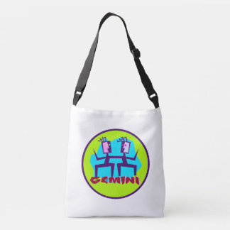 Gemini Cartoon Zodiac Astrology design Crossbody Bag