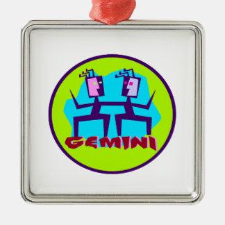 Gemini Cartoon Zodiac Astrology design Metal Ornament