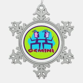 Gemini Cartoon Zodiac Astrology design Snowflake Pewter Christmas Ornament