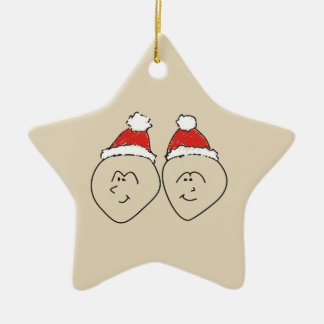 Gemini Christmas Funny Astrology Red Star Cool Ceramic Ornament