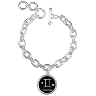 Gemini chrome symbol charm bracelet