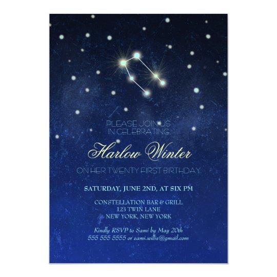Gemini Constellation Birthday Party Card