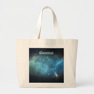 Gemini constellation large tote bag