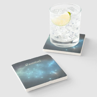 Gemini constellation stone beverage coaster