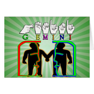 GEMINI FINGERSPELLED ASL NAME ZODIAC SIGN CARD