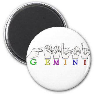 GEMINI FINGERSPELLED ASL NAME ZODIAC SIGN MAGNET
