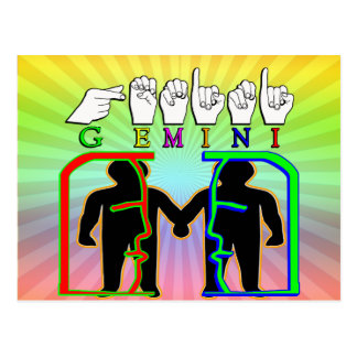 GEMINI FINGERSPELLED ASL NAME ZODIAC SIGN POSTCARD