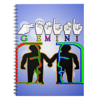 GEMINI FINGERSPELLED ASL NAME ZODIAC SIGN SPIRAL NOTEBOOK