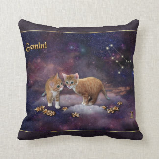Gemini for Cat Lovers Throw Pillow