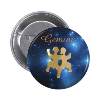 Gemini golden sign 2 inch round button