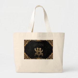 Gemini golden sign large tote bag