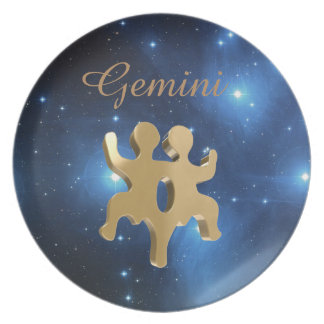 Gemini golden sign party plates