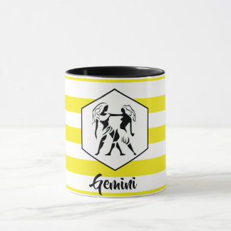 Gemini Horoscope Silhouette on Yellow Stripe Mug
