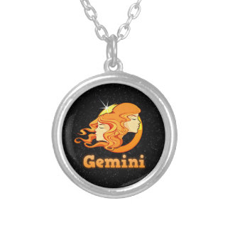 Gemini illustration silver plated necklace