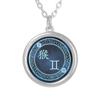 Gemini/Monkey Silver Plated Necklace