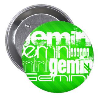 Gemini; Neon Green Stripes 3 Inch Round Button