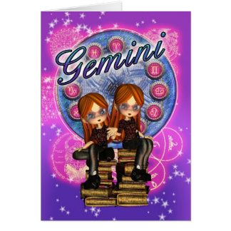 Gemini Note Cards With Cute Twin Girls