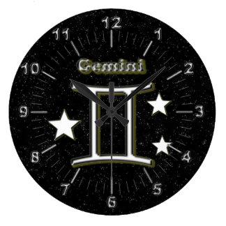 Gemini symbol large clock
