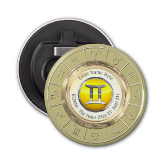Gemini - The Twins Astrological Sign Button Bottle Opener