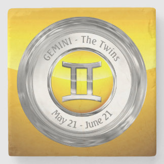 Gemini - The Twins Astrological Sign Stone Beverage Coaster