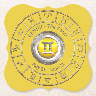 Gemini - The Twins Horoscope Symbol Paper Coaster