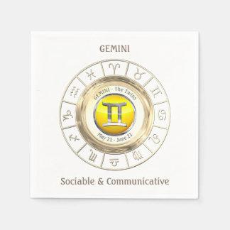Gemini - The Twins Zodiac Sign Paper Napkins