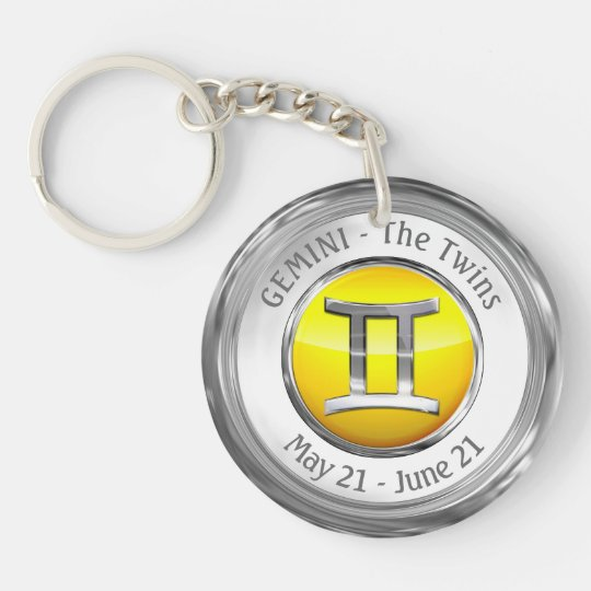 Gemini - The Twins Zodiac Sign Single-Sided Round Acrylic Keychain
