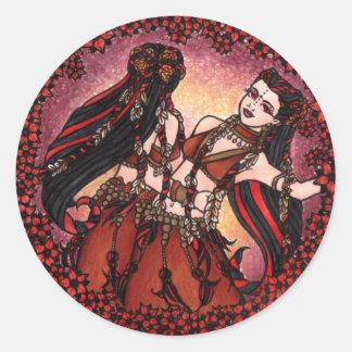 Gemini Tribal Belly Dance Classic Round Sticker