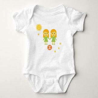 Gemini twin girls baby bodysuit - zodiac star sign