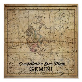 Gemini Twins Constellation Star Map June Poster