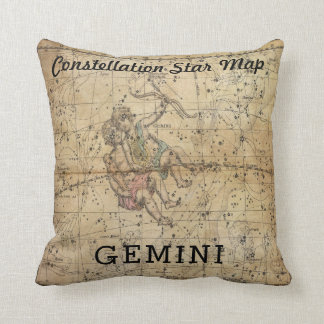 GEMINI Twins Constellation Star Map Vintage Pillow
